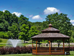 Gazebo along the Lake (George Neat) Tags: indian lake park irwin north huntingdon water pond fountain pavilion gazebo structures outside clouds westmoreland county pa pennsylvania georgeneat patriotportraits neatroadtrips