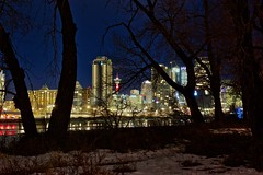 Happy New Year (John Andersen (JPAndersen images)) Tags: bowriver bridge calgary city night skyline trees