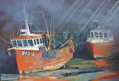 Trawlers (Art by MarkAC) Tags: acrylic painting cancas orange colourful trawlers mist light padstow ambermist viking fishing boats atmospheric seaside coast harbour cornwall england uk