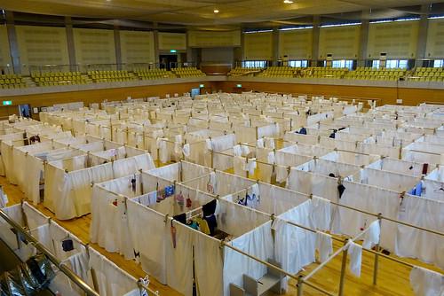 避難所用・紙の間仕切りシステム - 熊本地震での活用 -の写真