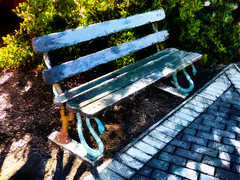 The Snake Legs Bench (Steve Taylor (Photography)) Tags: snake architecture digitalart bench seat park blue black brown green white block metal wooden newzealand nz southisland canterbury christchurch bush texture shadow autumn sunny sunshine