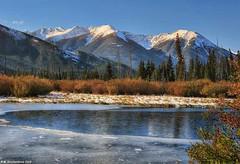 Partially Frozen Vermilion Lake in Banff National Park, Alberta Canada (PhotosToArtByMike) Tags: vermilionlakes banffnationalpark frozenlake ice canadianrockies rockymountains banff albertacanada mountain mountains alberta