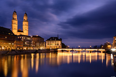 Blue hour (Rico the noob) Tags: dof night z7 2470mm church published water switzerland city outdoor urbanexploration clouds lights longexposure urban 2470mmf4 schweiz river sky landscape horizon 2019 reflection zurich