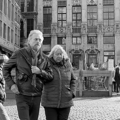 At the Christmas Market (Spotmatix) Tags: belgium brussels effects monochrome places street streetphotography