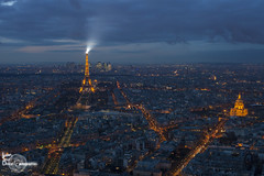 Paris from Montparnasse Tower II (Lonely Soul Design) Tags: eiffel tower montparnasse paris france sunset blue hour cityscape nightshot light urbanscape point view