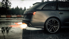 DriveClub (Matze H.) Tags: driveclub drive club audi rs6 rs 6 wallpaper screenshot 4k uhd hdr 2160p playstation 4 pro photo mode ingame grey street wet race track forrest tree rain drops rims wheels water flames shooting exhaust akrapovic