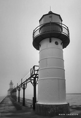 St. Joseph Lights (mswan777) Tags: pier lighthouse outdoor nature fog mist weather water light metal navigation lake michigan st joseph apple iphoneography iphone mobile monochrome ansel black white river