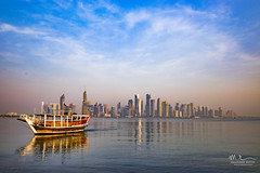 Morning View (Mohamed Rimzan) Tags: marina pier harbor moored motorboat jetty boat ship waterfront riverbank commercial dock water taxi qatarliving qatar doha sky skyline skyscraper canon blue