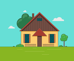 Vector illustration of a little house. (elena.s.bauer) Tags: house home vector illustration architecture icon roof window design little construction cottage door estate exterior building isolated residential small symbol cartoon business image residence sale sign structure background blue element flat grey object city art front pattern concept child seamless development street rent build color apartment modern decoration brick facade