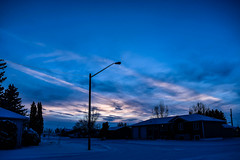 Silhouette blues (darletts56) Tags: sky blue blues cloud clouds white sunlight light lights lamp pole poles wire wires line lines power home homes house houses tree trees road roads street streets snow black green highway village saskatchewan canada prairie grey