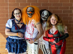 A Scary HorrorHound Group (J Wells S) Tags: clowns scarypeople blood wigs masks costumes smiles horrorhoundweekend sharonvilleconventioncenter sharonville cincninati ohio men women girls tattoos straightrazor