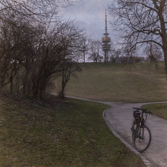 2019 Bike 180: Day 31, March 2 (suzanne~) Tags: 2019bike180 bike bicycle munich olympicpark tvtower bavaria germany winter