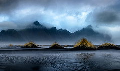 Vestrahorn (jeanineleech) Tags: iceland mountain stokksnespeninsula storm vestrahorn afternoon blacksand clouds cloudy ripples sanddune sanddunes skies sky stormy water