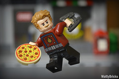 Star-Lord Pizza Delivery (WattyBricks) Tags: lego marvel superheroes starlord peter quill pizza guardians galaxy 76108