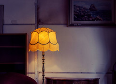 Composition (Alexandra Kfr) Tags: lamp atmosphere yellow light cocooning painting vintage furniture decoration lampshade colours