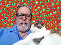 With Tallahassee (EmperorNorton47) Tags: portolahills california photo digital spring man beard glasses middleaged cat hemingwaycat caliby calicocat face