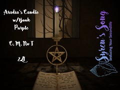 Aradia's Candle  w book purple ad (Syren Nightfire) Tags: sl secondlife virtual candle pagan witch gold blue purple pink green flame book fantasy fantasyfair