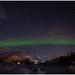 Aurora borealis - het Noorderlicht in Svolvær op de Lofoten in Noorwegen ...