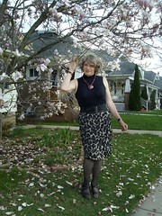 Spring Of 2012 In Milwaukee Came Early In 2012 . . . (Laurette Victoria) Tags: woman laurette magnolia milwaukee spring turtleneck skirt necklace