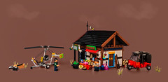 """The General Store (from """"Far Cry 4"""") (roΙΙi) Tags: farcry4 farcry buzzer tuktuk helicopter gyrocopter generalstore himalaya kyrat lego afol moc"""