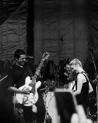 Danny Connors and Julia Lamb. (vtsphotography) Tags: 35mm film 35mmers ilford bw photography blackandwhite pentax k1000 analogue analog grennan concert festival musician guitarist bass man girl 2018 summer july russia moscow msk