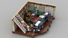 The Ford Mustang as my favorite piece of furniture (skallesplitter) Tags: lego fordmustang ford mustang musclecar livingroom furniture vignette minifigurescale family treasure stairs