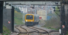 The approach of history (The Walsall Spotter) Tags: westmidlandsrailway class323 emu 323217 bloxwich railway station thechaseline thechaselineelectrification electric overheadwires overheadlineequipment networkrail