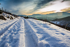 Sunset on Paganuccio (fra_otta) Tags: sunset snow white marches italy beautiful furlo catria nerone mountain sky lonely road