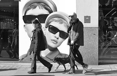 """I think I'm being watched....."" (markwilkins64) Tags: kensingtonhighstreet london uk streetphotography street candid juxtaposition blackandwhite mono monochrome cap mobilephone eyecontact dogwalking walking poster sunhglasses markwilkins dog sunny bright naturallight shadows"
