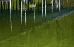 Pillars of Reflection (somewheredowntheroadphoto) Tags: color water reflection reflections light shadow shadows green ripple ripples pillars gradation outside nature natural