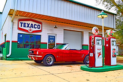 Where's the attendant! (Jays and Jets) Tags: mustang ford 66mustang texaco convertible classiccar pensacola americana gasstation gaspump
