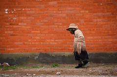 OLD ladie Bolivia _3916 (ichauvel) Tags: femme woman viellefemme oldwoman marcher walking mur wall murorange orangewall exterieur outside chapeau hat village sanpablodelipez bolivie bolivia amériquedusud southamerica amériquelatine voyage travel rural rue street briques