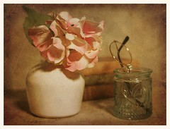 Still Life with Vase and Pink Flowers (N.the.Kudzu) Tags: tabletop stilllife white ceramic vase pink flowers old books eyeglasses canoneosm 7artisans35mmf12 lightroom preset photoscape texture frame home