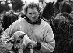 Taking his dog for a walk! (Frank Fullard) Tags: frankfullard fullard candid street portrait man freckles curls pet dog walk lol ballinasloe galway irish ireland pup monochrome black white blanc noir