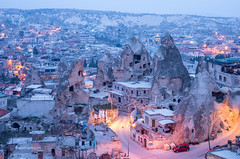 Frosty morning in Göreme (pietkagab) Tags: goreme cappadocia turkey turkish town morning early bluehour cold blue gloomy rock rocky formation rockformation house houses caves light asia asian pietkagab photography pentax piotrgaborek pentaxk5ii travel trip tourism sightseeing adventure