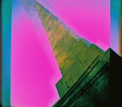 Multi Obelisk, Forres, February 2016 (Mano Green) Tags: obelisk monument forres scotland uk winter february 2016 sky cross process agfa precisa colour slide 100 35mm film diana mini double multiple exposure