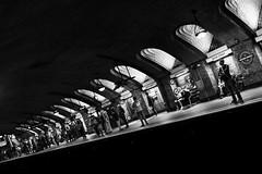 Light In Your Head (Sean Batten) Tags: london england uk europe bakerst metro londonunderground platform blackandwhite bw people commuters city urban streetphotography street light shadow fuji fujifilm x100f