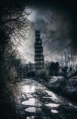 Radar Tower (nigdawphotography) Tags: radartower rain winter puddles water reflections cherrygreen stanstedairport henham essex