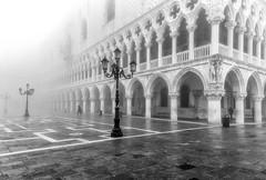 Doges Palace in the fog (photofitzp) Tags: bw blackandwhite dogespalace fog italy venice