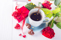 Top view of a cup of coffee and chocolates. Symbolism Valentine's Day with place for text (lyule4ik) Tags: chocolate coffee holiday red candy heart background concept love mug romantic sweet beverage decoration dessert romance cup card day gift symbol valentine view wooden drink celebration backcloth cream decor postcard top cocoa lights table confection food stilllife closeup event flower box morning winter christmas hot rustic teal blue photography front