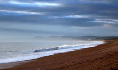 Dorset Dreaming (rufftytufty) Tags: sea beach scenery vista dorset chesil waves water holidays pebbles colour caravans houses view cliffs grass tourism walking bay