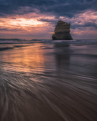 Sea Stack at sunset, Great Ocean Road, Australia (Explore) (christaff1010) Tags: landscape sunset cliffs australia seastack clouds longexposure ocean greatoceanroad sun sea sky seascape 12apostles coast waves sunlight