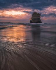 Sea Stack at sunset, Great Ocean Road, Australia (christaff1010) Tags: landscape sunset cliffs australia seastack clouds longexposure ocean greatoceanroad sun sea sky seascape 12apostles coast waves sunlight