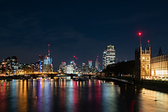 From Westminster Bridge (Mister Oy) Tags: london westminster hungerford bridge footbridge thames river night smooth water colours colors housesofparliament d850 nikon1635mmf4vrafs reflection