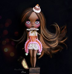 Circe 💕 (pure_embers) Tags: pure embers blythe doll dolls custom photography takara neo uk laura england girl pureembers circe nanuka chocolate brown orange hair dark tan colourful circus portrait spectacular