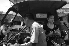 Passenger (Beegee49) Tags: street tricycle public transport filipina passenger listening music happy planet luminar sony a6000 blackandwhite monochrome silay city philippines asia bw happyplanet asiafavorites