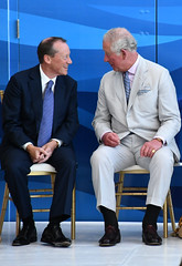 PoW and Gov laugh together CJ16ed (Cayman Islands Government Information Services) Tags: royalarrival27march cayman royal visit charles prince wales camilla duchess cornwall owen roberts international airport united kingdom great britain