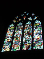 Durham Cathedral Millennium Window (Nekoglyph) Tags: durham cathedral stainedglass window bright colourful millennium heritage local mining industry stcuthbert green purple tynebridge shipbuilding manufacture car coal chemicals glass university