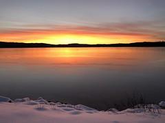 The sun has set over lake Kymmen in Värmland Sweden. (marcobarten) Tags: kymmen nordiclight scandinavia lakeview sunne snow varmland värmland sweden sunset winter lake