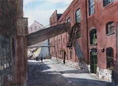 A alley in Distillery Area, 2019-04-12 (light and shadow by pen) Tags: watercolor landscape cityscape art torontodistilleryarea